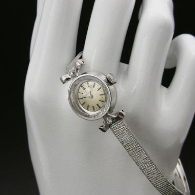 オメガ ダイヤ装飾 14KWG プリズム風防 レディースウオッチ