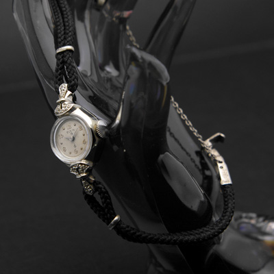 エルジン ダイヤ装飾 10KWG 飛びアラビア数字インデックス レディースウオッチ 分解掃除済み 02