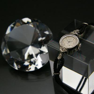 エルジン ダイヤ装飾 10KWG 飛びアラビア数字インデックス レディースウオッチ 分解掃除済み 03