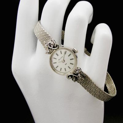 ブローバ ダイヤ装飾 14KWG バーインデックス レディースウオッチ 03