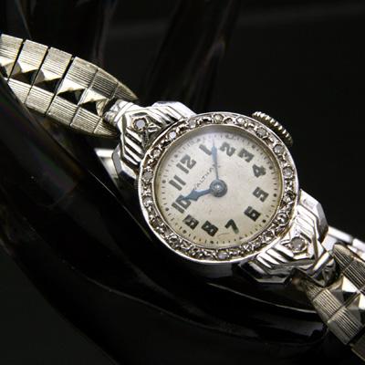 ウォルサム ダイヤ装飾 14KWG レディースウオッチ 分解掃除済み 02