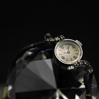 ロンジン アールデコデザイン ダイヤ装飾 14KWG アンティーク 手巻き レディースウオッチ 02