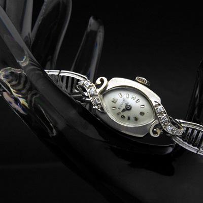 ブローバ ダイヤ装飾 14KWG アールデコデザイン アンティーク 手巻き レディースウオッチ 分解掃除済み 02