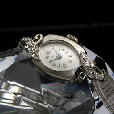 ブローバ ダイヤ装飾 14KWG アールデコデザイン アンティーク 手巻き レディースウオッチ 分解掃除済み 03