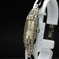 ウォルサム 14KWG ダイヤ装飾 アンティーク 手巻き レディースウオッチ 分解掃除済み