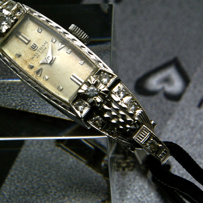 ウォルサム 14KWG ダイヤ装飾 アンティーク 手巻き レディースウオッチ 分解掃除済み 03