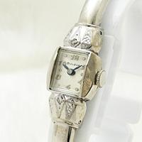 ブローバ ダイヤ装飾 バングルウオッチ アンティーク 手巻き レディースウオッチ