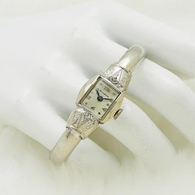 ブローバ ダイヤ装飾 バングルウオッチ アンティーク 手巻き レディースウオッチ 02