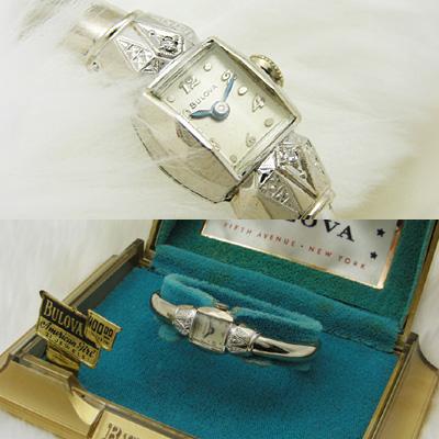 ブローバ ダイヤ装飾 バングルウオッチ アンティーク 手巻き レディースウオッチ 03