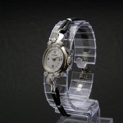 ウィットナー 14KWG ダイヤ装飾 レディースウオッチ 紐ベルト仕様