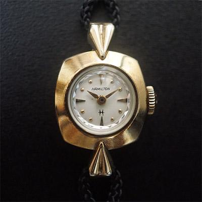 ハミルトン レディースアンティークウオッチ ホワイトダイアル 金色で華奢なケース