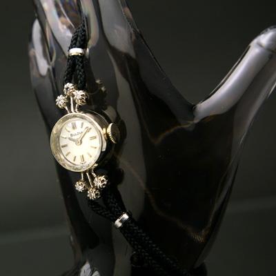 ブローバ 14KWG ダイヤ装飾 レディースウオッチ 紐ベルト仕様 02