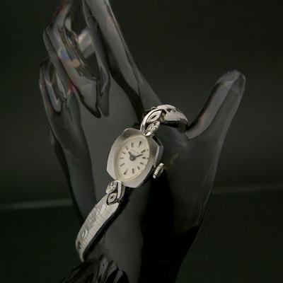 ロンジン ダイヤ装飾 14KWG アンティーク 手巻き レディースウオッチ 美品 分解掃除済み