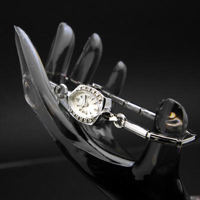 ロンジン ダイヤ装飾 14KWG アンティーク 手巻き レディースウオッチ 3・6・9・12インデックス 03
