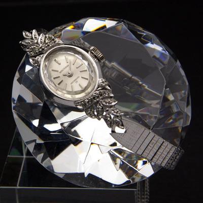 ウォルサム ボタニカルデザイン 石装飾 レディースアンティークウオッチ デッドストックブレスレット 02