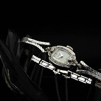 ハミルトン 14KWG ダイヤ装飾 偶数時アップライトインデックス レディースアンティークウオッチ 02