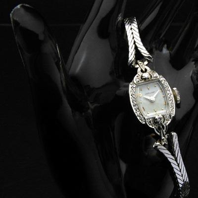 ハミルトン 14KWG ダイヤ装飾 偶数時アップライトインデックス レディースアンティークウオッチ 03