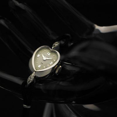 ハミルトン ハート型ケース レディースアンティークウオッチ 2ポイントダイヤ装飾 分解掃除済み 希少 03