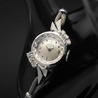 レディー・エルジン 6ポイントダイヤ装飾 14KWG アンティークレディースウオッチ 分解掃除済み
