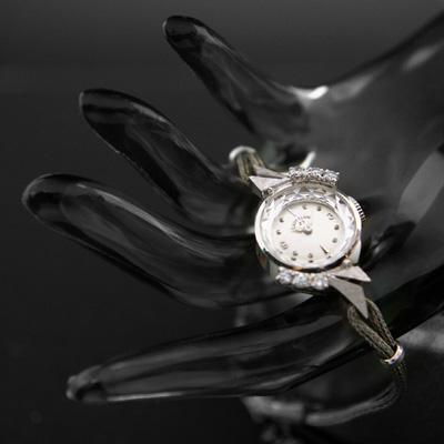 レディー・エルジン 6ポイントダイヤ装飾 14KWG アンティークレディースウオッチ 分解掃除済み 02
