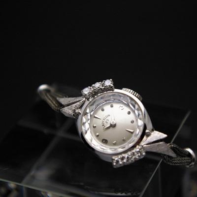 レディー・エルジン 6ポイントダイヤ装飾 14KWG アンティークレディースウオッチ 分解掃除済み 03