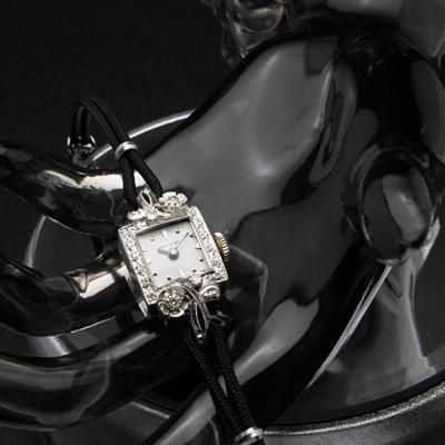 ハミルトン ダイヤ取り巻き10KWGケース フラワーデコレーション レディースアンティークウオッチ 02