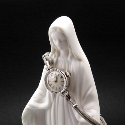 モバード ギャルト ダイヤ装飾 14KWG 楔形インデックス プリズム風防 レディースアンティークウオッチ 02