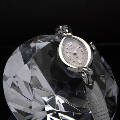 ハミルトン アーモンドシェイプホワイトゴールドケース ダイヤ装飾 レディースアンティークウオッチ 02