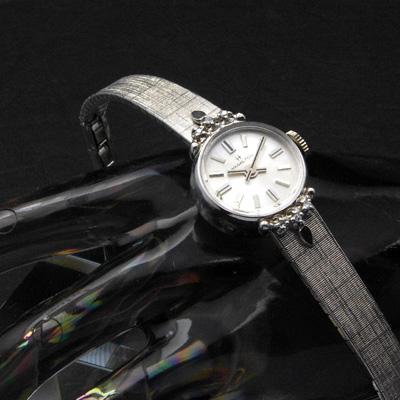 ハミルトン シルバーダイアル 10KRGPケース ダイヤ装飾 ブレス一体型 レディースアンティークウオッチ