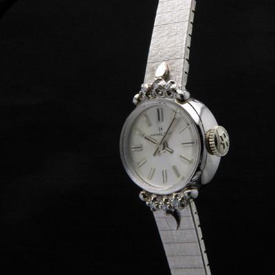 ハミルトン シルバーダイアル 10KRGPケース ダイヤ装飾 ブレス一体型 レディースアンティークウオッチ 02