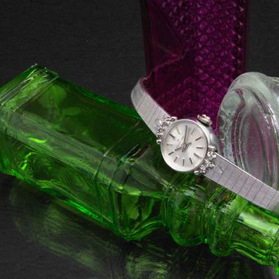 ハミルトン シルバーダイアル 10KRGPケース ダイヤ装飾 ブレス一体型 レディースアンティークウオッチ 03