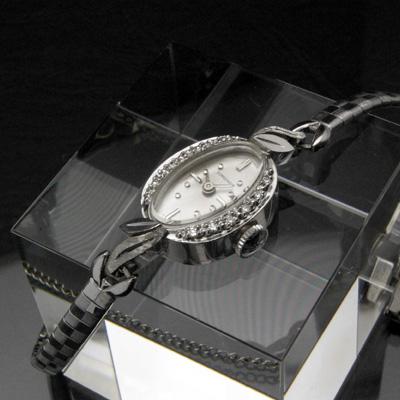 ロンジン ダイヤ装飾 14KWG アンティーク 手巻き レディースウオッチ 市松ブレスレット 03