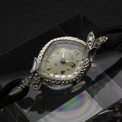 ハミルトン レディーハミルトン 菱形フェイス 14KWGケース ダイヤ装飾 レディースアンティークウオッチ 02