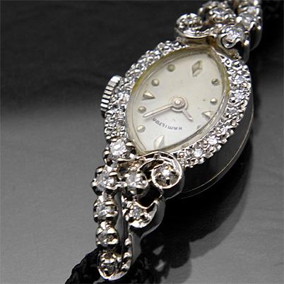 ハミルトン 24ポイントダイヤ装飾 アーモンドフェイス 14KWG アンティーク 手巻き レディースウオッチ 02