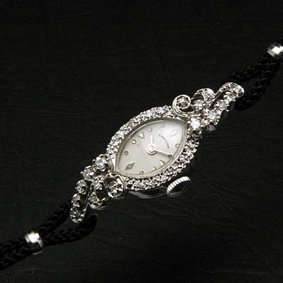 ハミルトン 24ポイントダイヤ装飾 アーモンドフェイス 14KWG アンティーク 手巻き レディースウオッチ 03