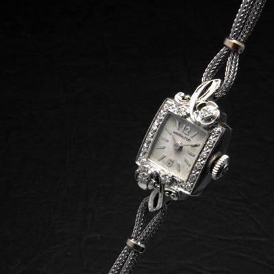 ハミルトン ボタニカルデザインラグ ダイヤ装飾 スクエア 10KWG アンティーク 手巻き レディースウオッチ 02
