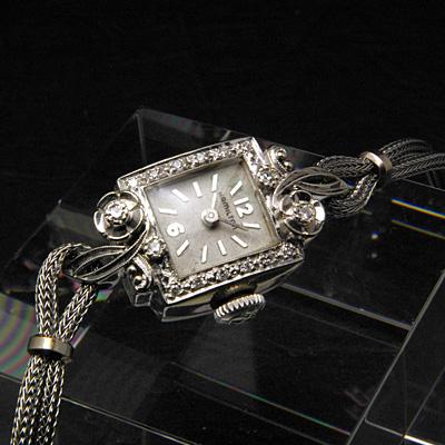 ハミルトン ボタニカルデザインラグ ダイヤ装飾 スクエア 10KWG アンティーク 手巻き レディースウオッチ 03