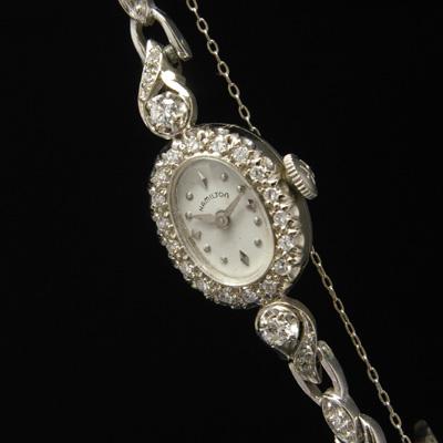 ハミルトン ダイヤ装飾 14KWGケース&ブレス オーバルシェイプ アンティーク 手巻き レディースウオッチ