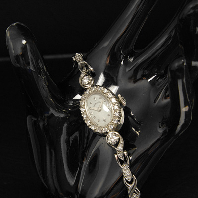ハミルトン ダイヤ装飾 14KWGケース&ブレス オーバルシェイプ アンティーク 手巻き レディースウオッチ 02