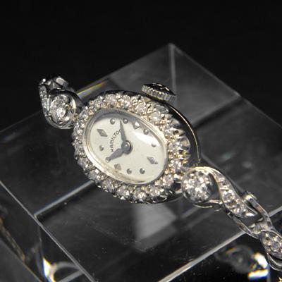ハミルトン ダイヤ装飾 14KWGケース&ブレス オーバルシェイプ アンティーク 手巻き レディースウオッチ 03