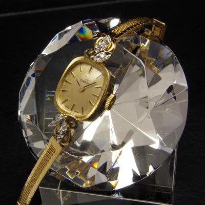 オメガ レクタングル14Kケース コンビ ダイヤ装飾 ゴールドダイアル レディースアンティークウオッチ 02