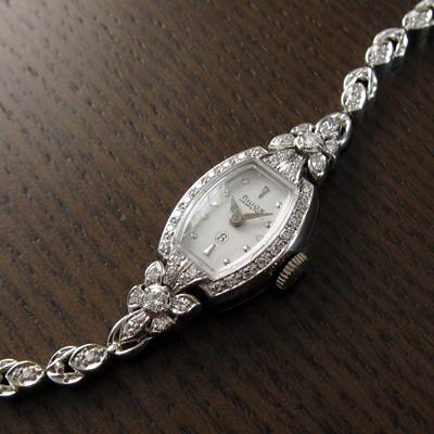 ハミルトン ダイヤ装飾 14KWGケース&ブレス 樽形 アンティーク 手巻き レディースウオッチ 分解掃除済み 02