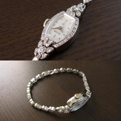 ハミルトン ダイヤ装飾 14KWGケース&ブレス 樽形 アンティーク 手巻き レディースウオッチ 分解掃除済み 03