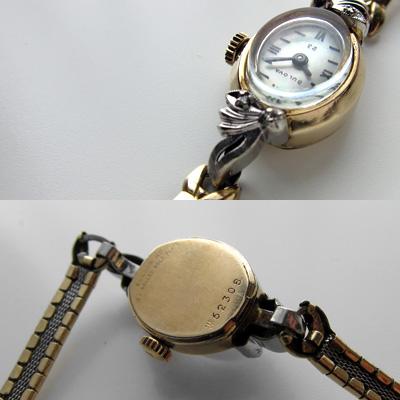 ブローバ ダイヤ装飾 10KRPG シェル文字盤 アンティーク 手巻き レディースウオッチ 市松ブレスレット 03