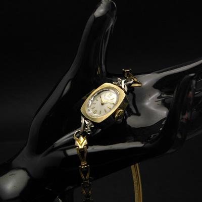 エルジン ダイヤ装飾 10KRGP 楕円文字盤 アンティーク 手巻き レディースウオッチ 03