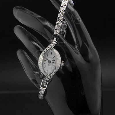 ハミルトン レディーハミルトン ダイヤ装飾 14KWGケース&ブレス アーモンドシェイプ アンティーク 手巻き レディースウオッチ