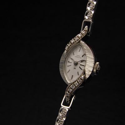 ハミルトン レディーハミルトン ダイヤ装飾 14KWGケース&ブレス アーモンドシェイプ アンティーク 手巻き レディースウオッチ 02