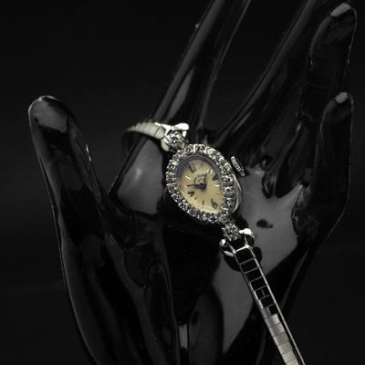 エルジン レディエルジン ダイヤ装飾 14KWG ティアドロップ アンティーク 手巻き レディースウオッチ 02