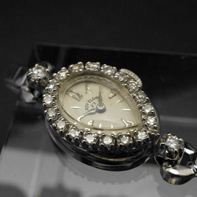 エルジン レディエルジン ダイヤ装飾 14KWG ティアドロップ アンティーク 手巻き レディースウオッチ 03