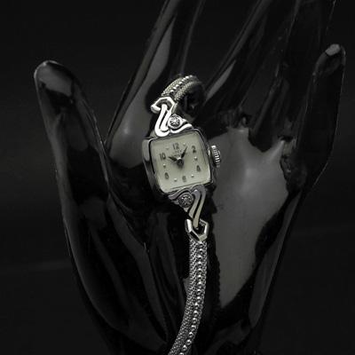 ハミルトン レディーハミルトン ダイヤ装飾 14KWGケース スクエアシェイプ アンティーク 手巻き レディースウオッチ
